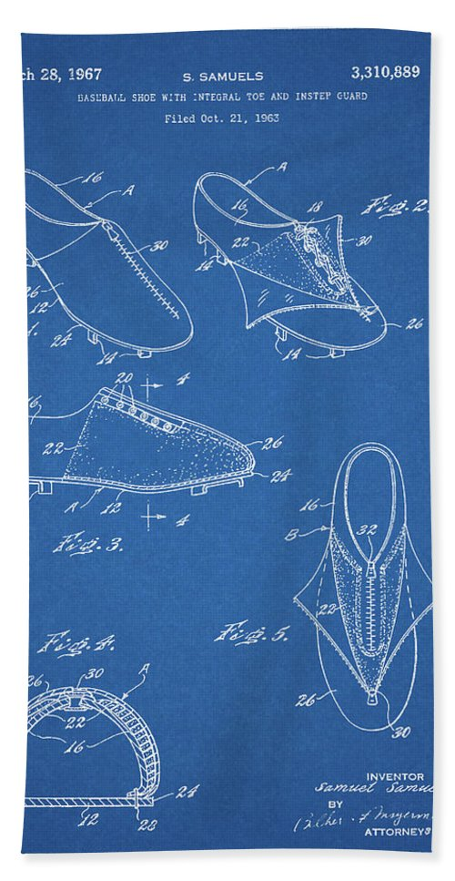 1967 Baseball Shoe Patent Beach Towel featuring the drawing 1967 Baseball Shoe Patent by Dan Sproul