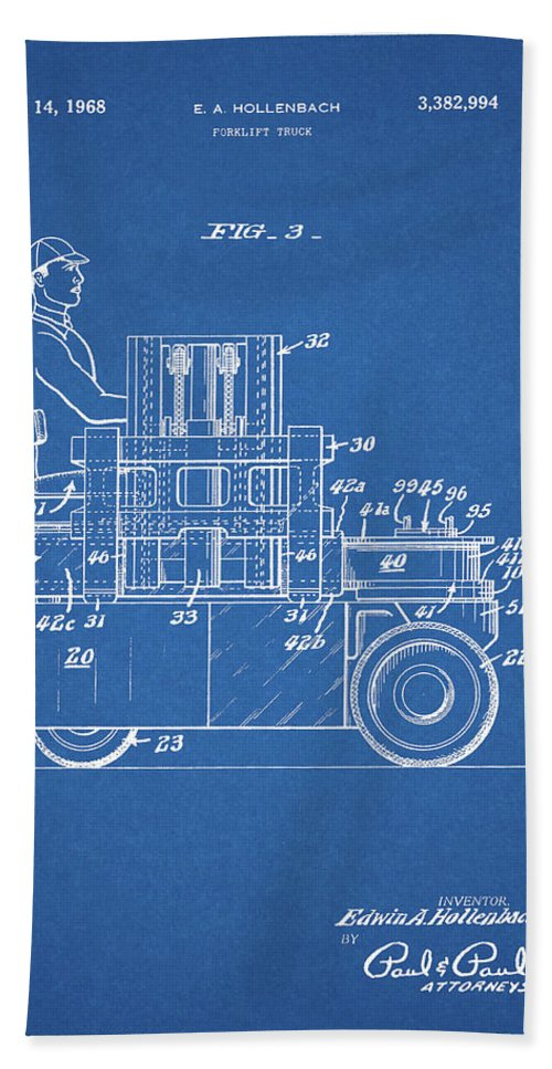 Forklift Patent Drawing Beach Towel featuring the mixed media 1968 Lift Truck Patent by Dan Sproul