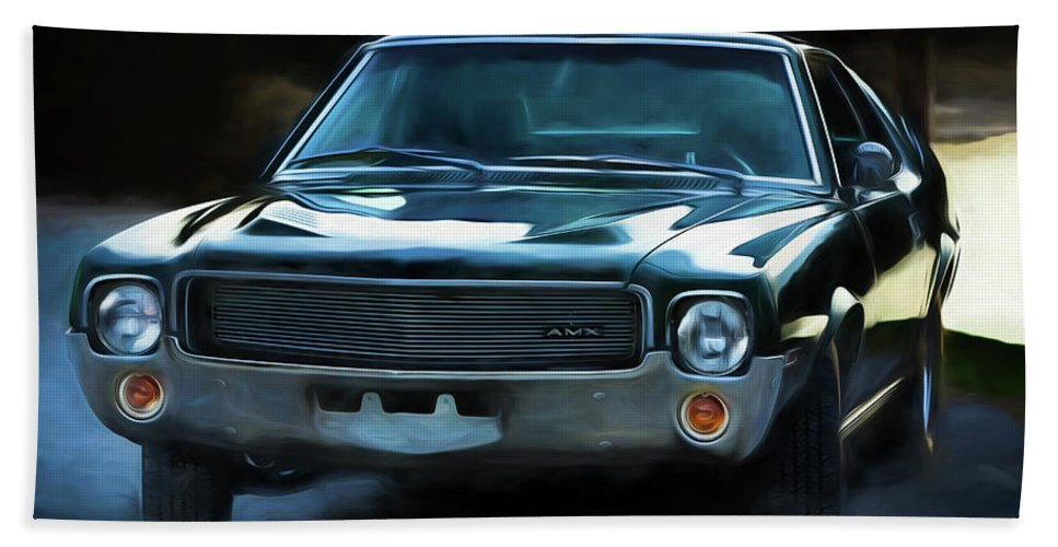 1969 Amx Beach Towel featuring the photograph 1969 Amx In Racing Green by Edward Moorhead