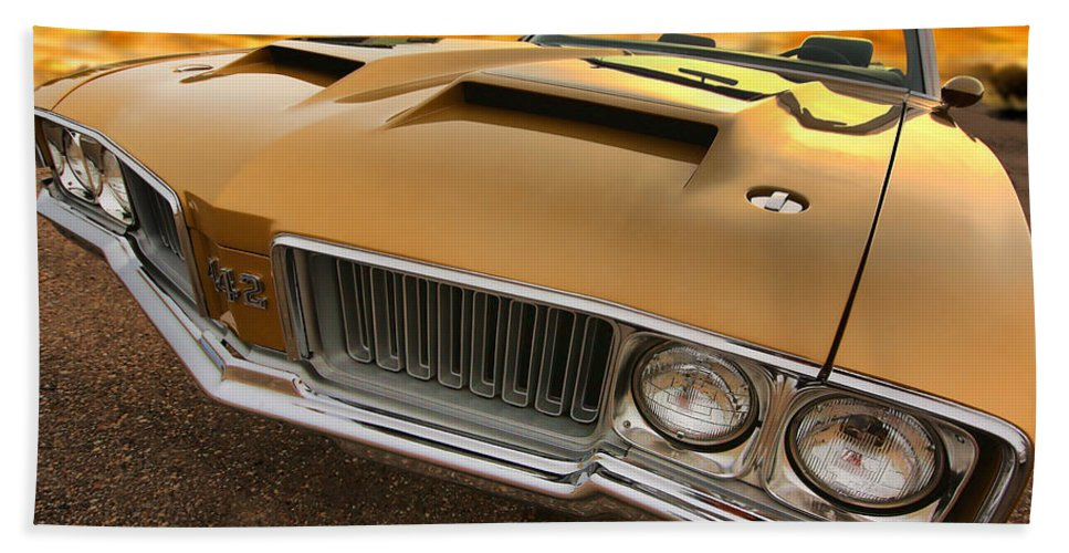 Oldsmobile Beach Towel featuring the photograph 1970 Oldsmobile 442 W-30 by Gordon Dean II