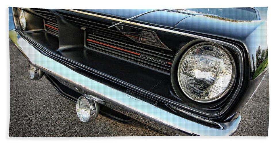 Black Beach Towel featuring the photograph 1970 Plymouth Barracuda 'cuda 440 by Gordon Dean II