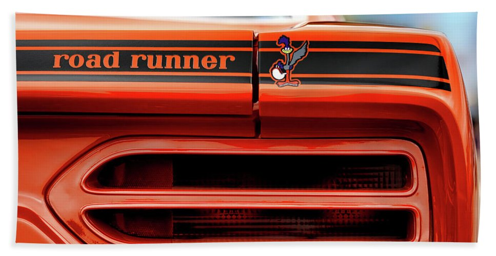 1970 Beach Towel featuring the photograph 1970 Plymouth Road Runner - Vitamin C Orange by Gordon Dean II