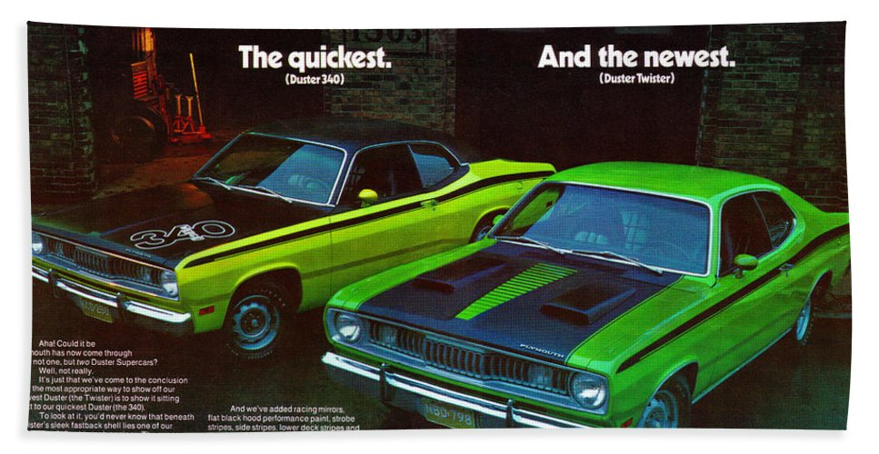 1971 PLYMOUTH DUSTER 340 /& TWISTER Green Sports Car With Black Stripe VINTAGE AD