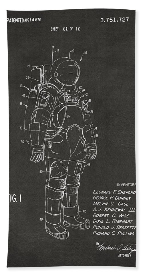 Space Suit Beach Towel featuring the digital art 1973 Space Suit Patent Inventors Artwork - Gray by Nikki Marie Smith