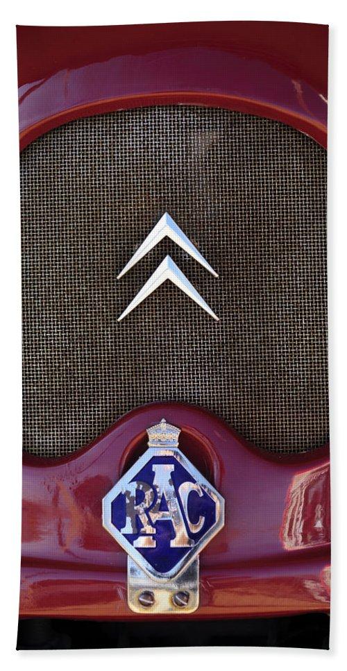 1979 Citroen 2cv Speedster Beach Towel featuring the photograph 1979 Citroen 2cv Speedster Hood Ornament by Jill Reger