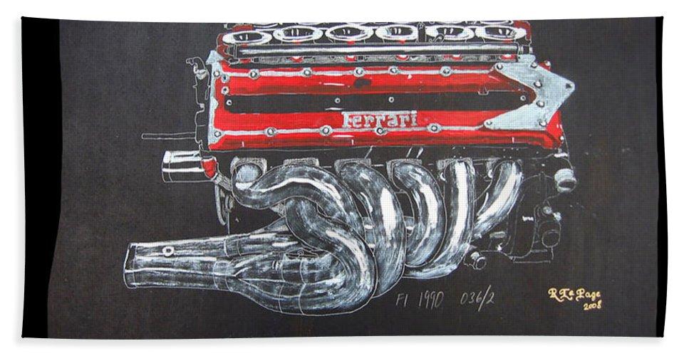 Ferrari Beach Towel featuring the painting 1990 Ferrari F1 Engine V12 by Richard Le Page