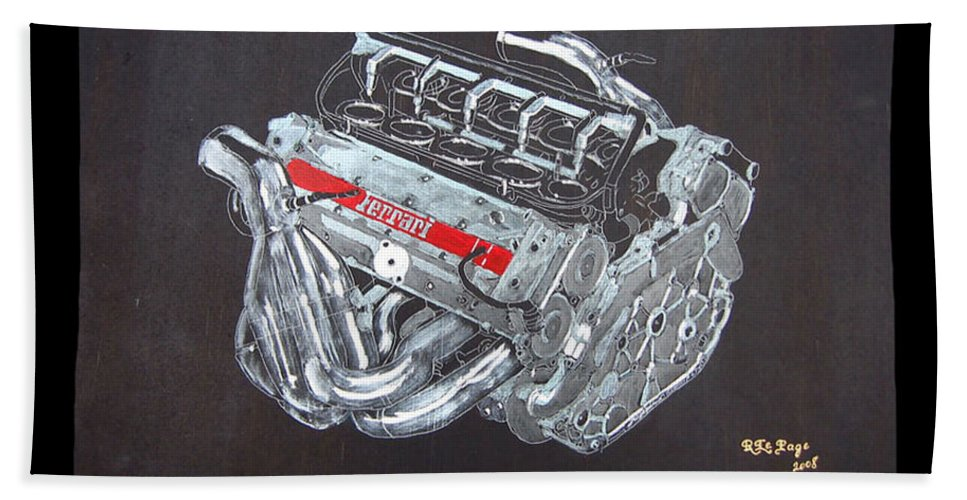 1996 Ferrari F1 V10 Engine Beach Towel