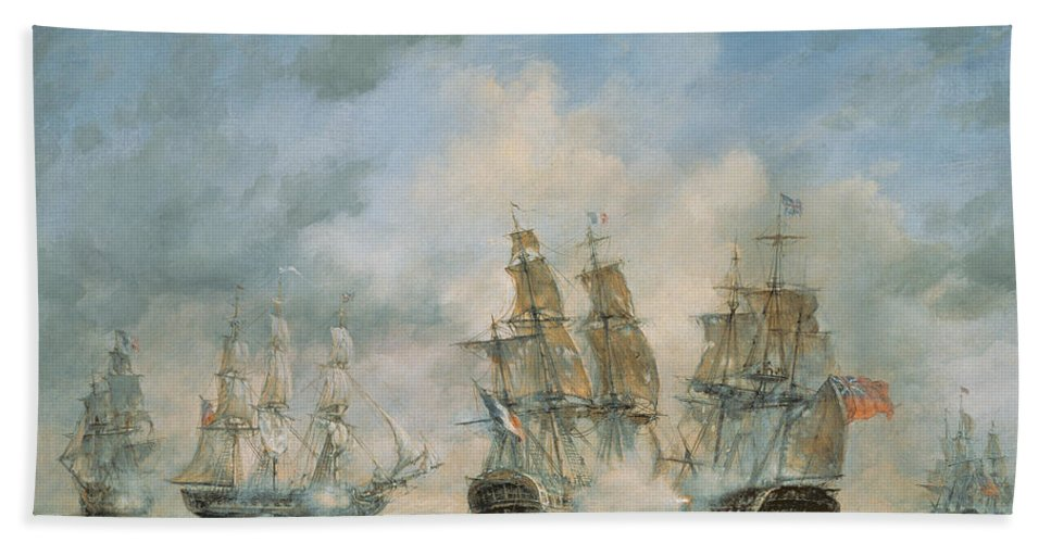Seascape; Navel; Sea; Ship; Ships; Navel Engagement; Flag; Flags; Cloud; Clouds; Battle; Battling; Sailing; Sailing Ships Beach Towel featuring the painting 19th Century Naval Engagement In Home Waters by Richard Willis