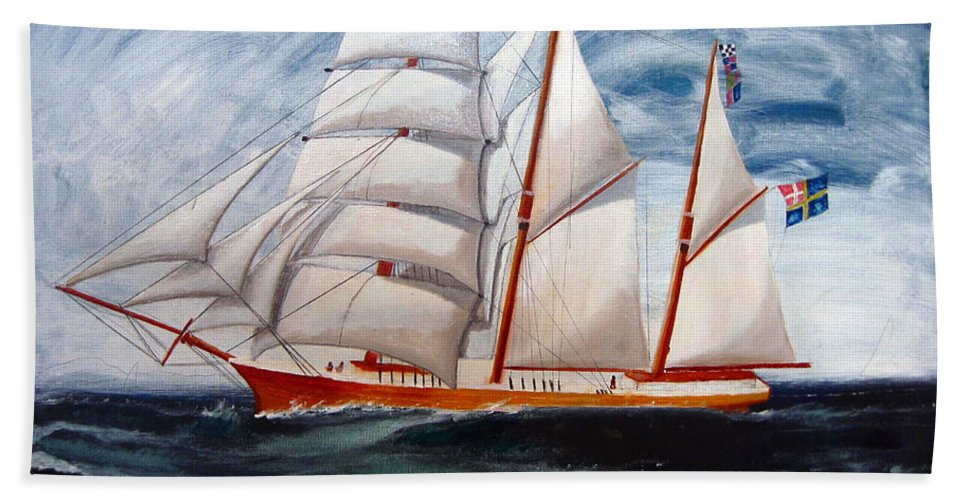 Tall Ship Beach Towel featuring the painting 3 Master Tall Ship by Richard Le Page
