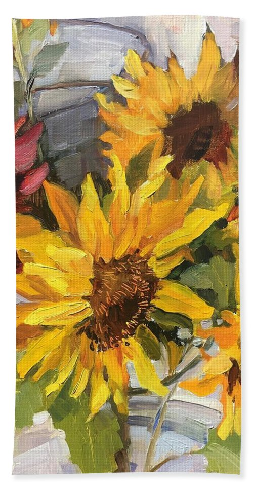 Sunflowers Beach Towel featuring the painting $2 A Stem by Cory Wright