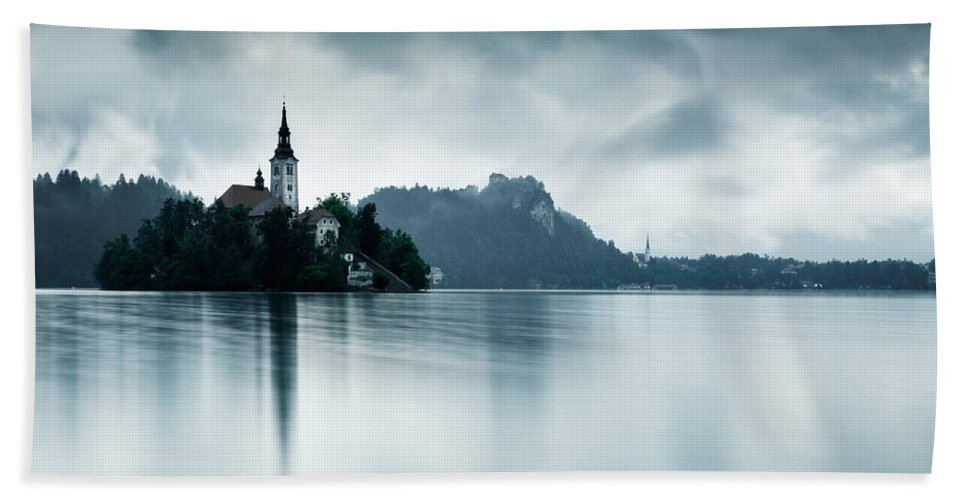 Bled Beach Towel featuring the photograph After The Rain At Lake Bled by Ian Middleton