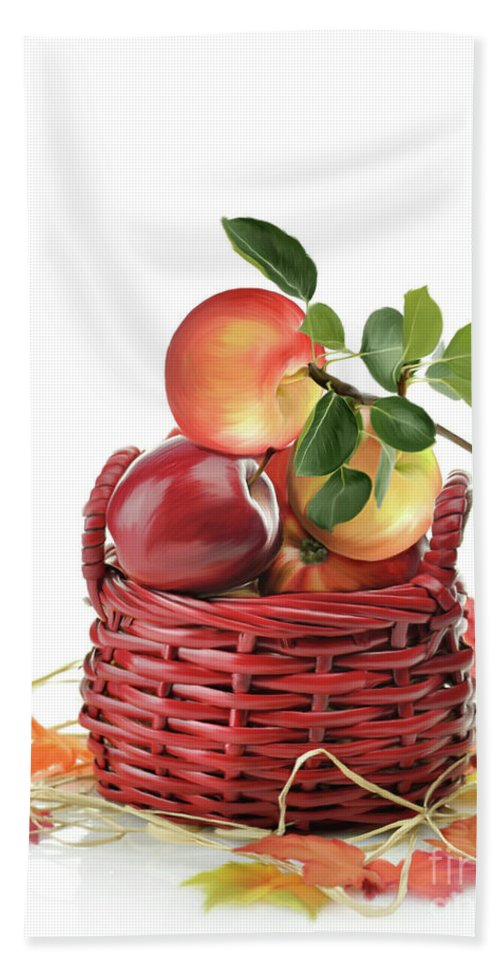 Apple Beach Towel featuring the digital art Apples In A Basket by Svetlana Foote