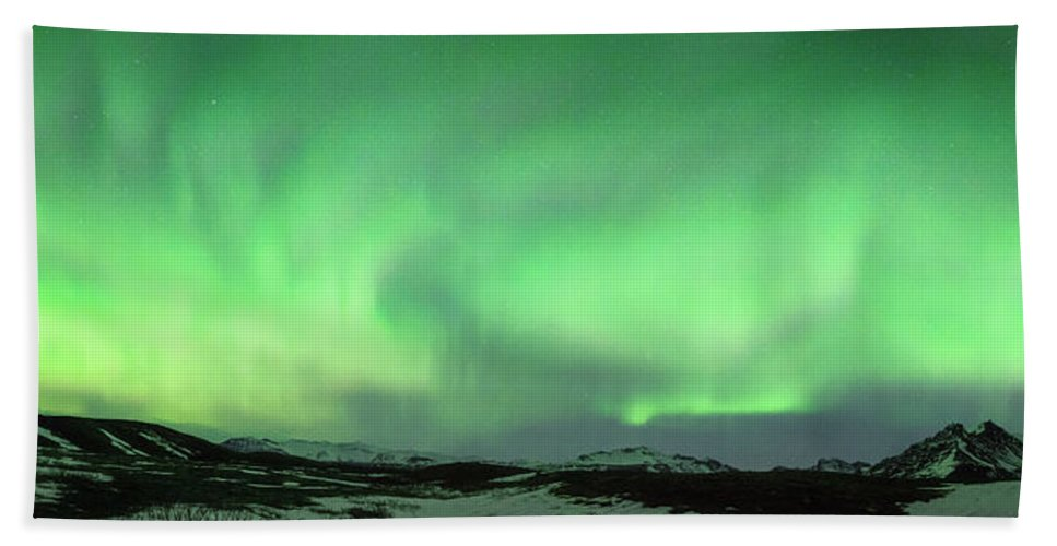 Iceland Beach Towel featuring the photograph Aurora Borealis Or Northern Lights. by Andy Astbury