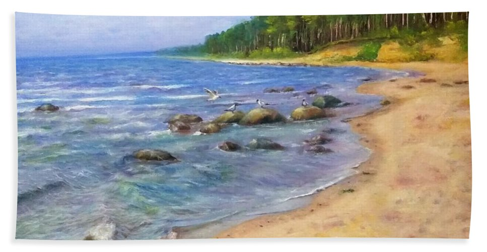 Sea Beach Towel featuring the painting Baltic beach by Natalja Picugina