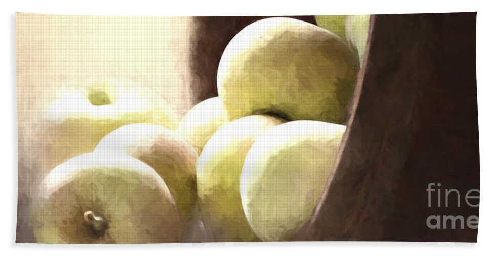 Apples Beach Towel featuring the photograph Basket Of Apples by Pam Holdsworth