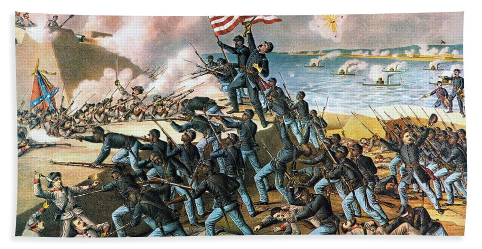 1863 Beach Towel featuring the photograph Battle Of Fort Wagner, 1863 by Kurz and Allison