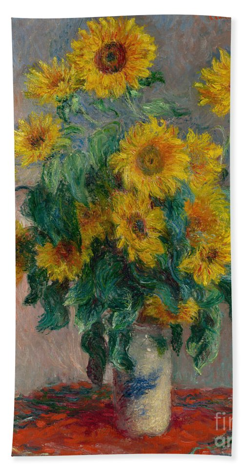 Monet Beach Towel featuring the painting Bouquet Of Sunflowers by Claude Monet