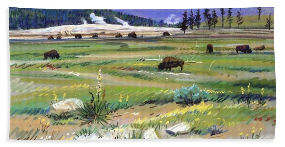 Buffaloes Beach Towel featuring the pastel Buffaloes In Yellowstone by Donald Maier