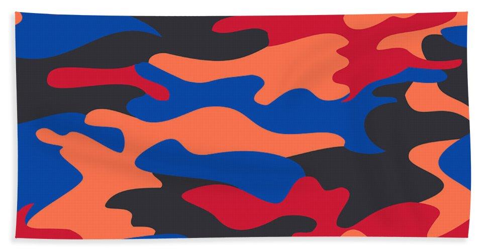 Seamless Beach Towel featuring the digital art Camouflage Pattern Background Seamless Clothing Print, Repeatabl by Svetlana Corghencea