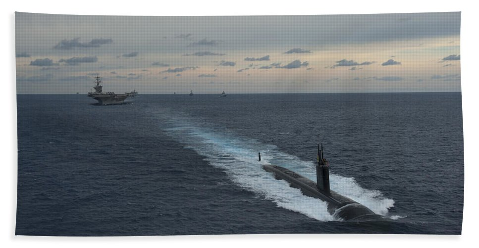 Horizontal Beach Towel featuring the photograph Carrier Strike Group Formation Of Ships by Stocktrek Images