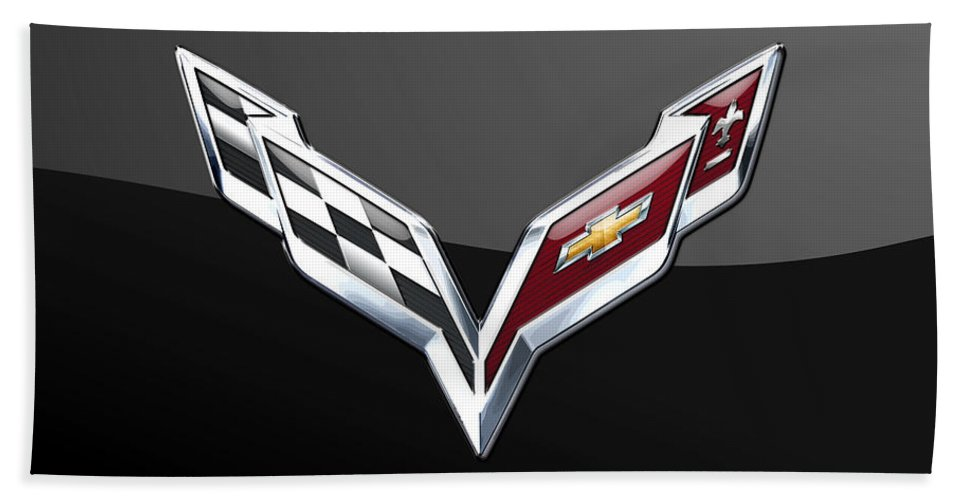 �wheels Of Fortune� Collection By Serge Averbukh Beach Towel featuring the photograph Chevrolet Corvette 3D Badge on Black by Serge Averbukh