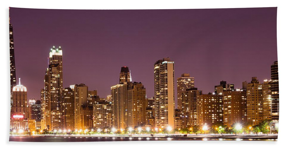 America Beach Towel featuring the photograph Chicago Skyline At Night Photo by Paul Velgos