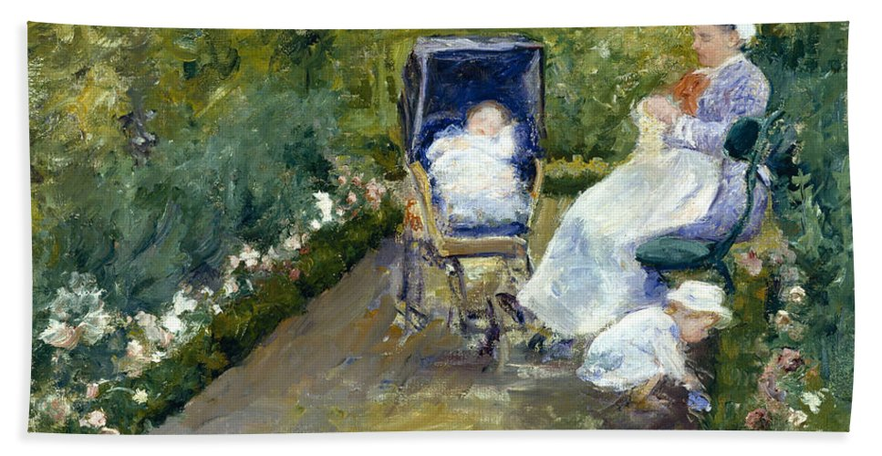 Children In A Garden Beach Towel featuring the painting Children In A Garden, The Nurse by Mary Cassatt