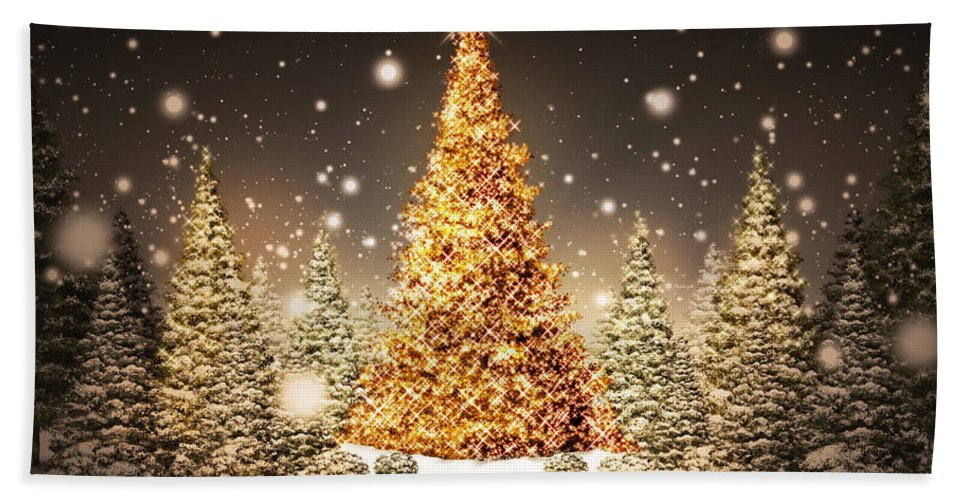 Christmas Beach Towel featuring the digital art Christmas by Zia Low