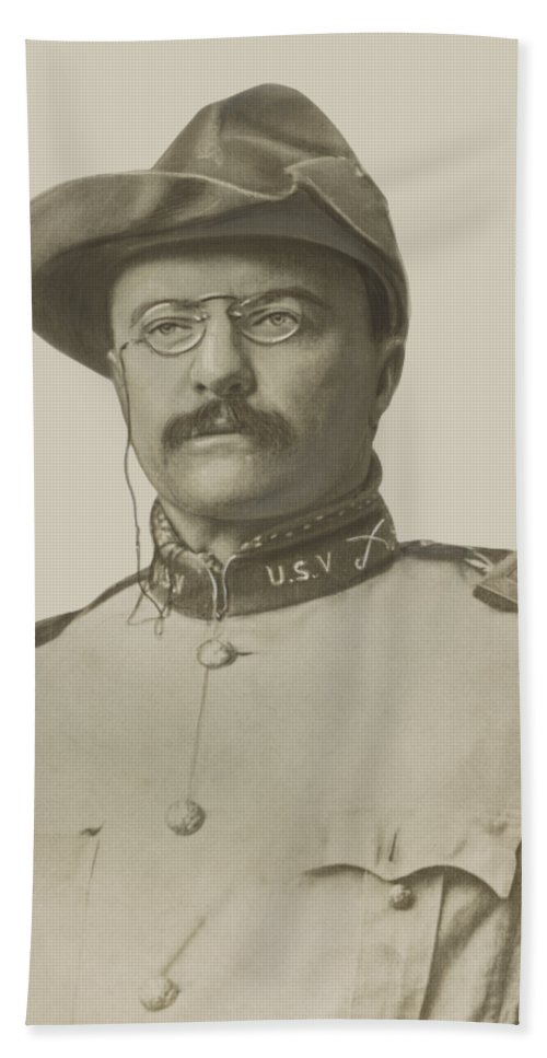 Theodore Roosevelt Beach Towel featuring the drawing Colonel Theodore Roosevelt by War Is Hell Store