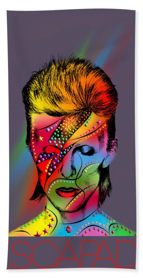 Beach Towel featuring the digital art David Bowie by Mark Ashkenazi