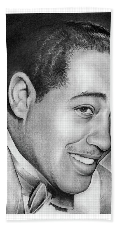 Jazz Beach Sheet featuring the drawing Duke Ellington by Greg Joens
