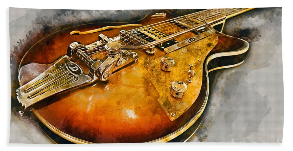 Guitar Beach Towel featuring the mixed media Electric Guitar by Ian Mitchell
