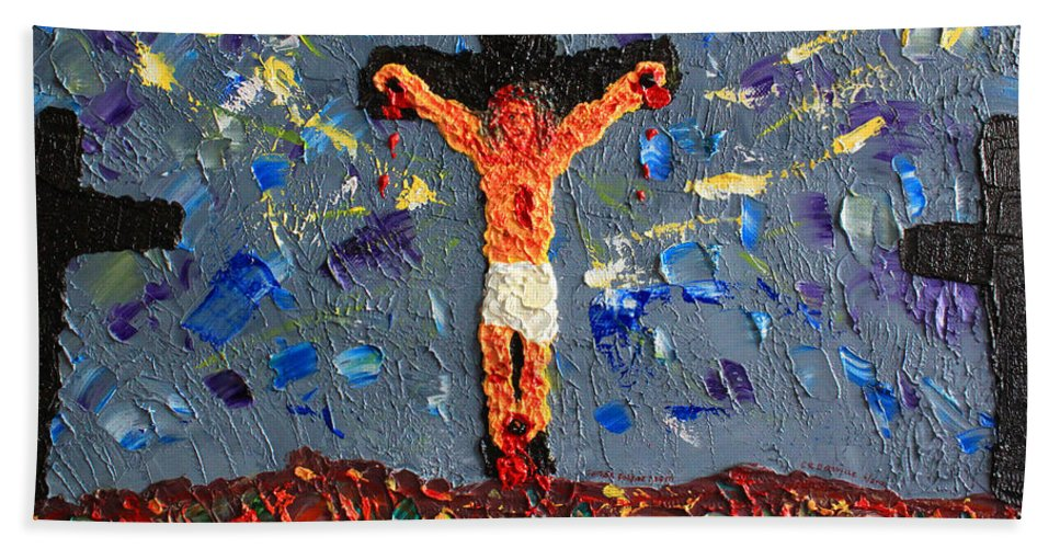 Jesus Beach Towel featuring the painting Father Forgive Them by Carl Deaville
