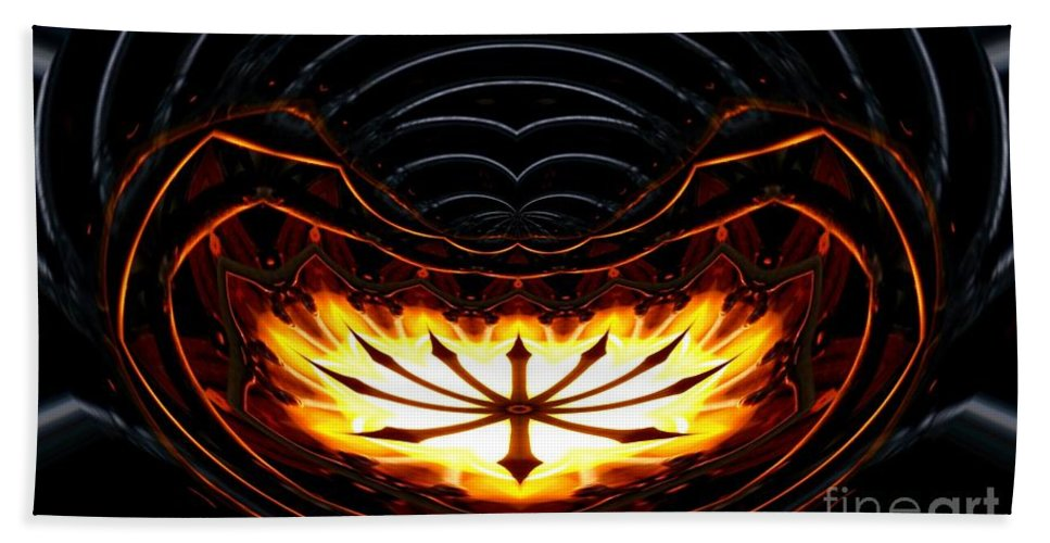 Fire Beach Towel featuring the photograph Fire Polar Coordinates Effect by Rose Santuci-Sofranko