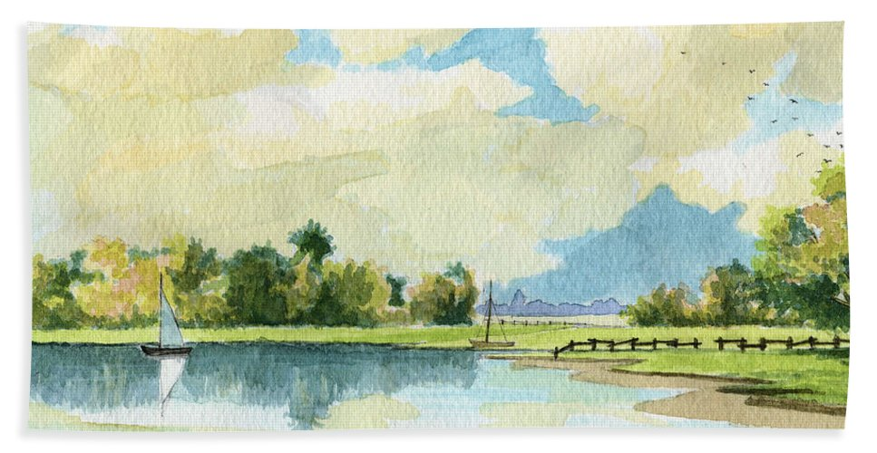 Lake Beach Sheet featuring the painting Fishing Lake by Alban Dizdari