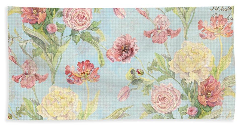 Fleurs De Pivoine Watercolor In A French Vintage Wallpaper Style Beach Towel