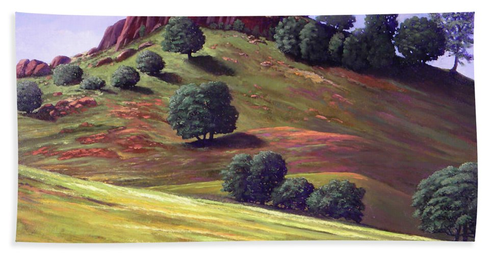 Landscape Beach Towel featuring the painting Flowering Meadow by Frank Wilson