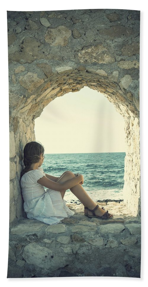 Female Beach Towel featuring the photograph Girl At The Sea by Joana Kruse