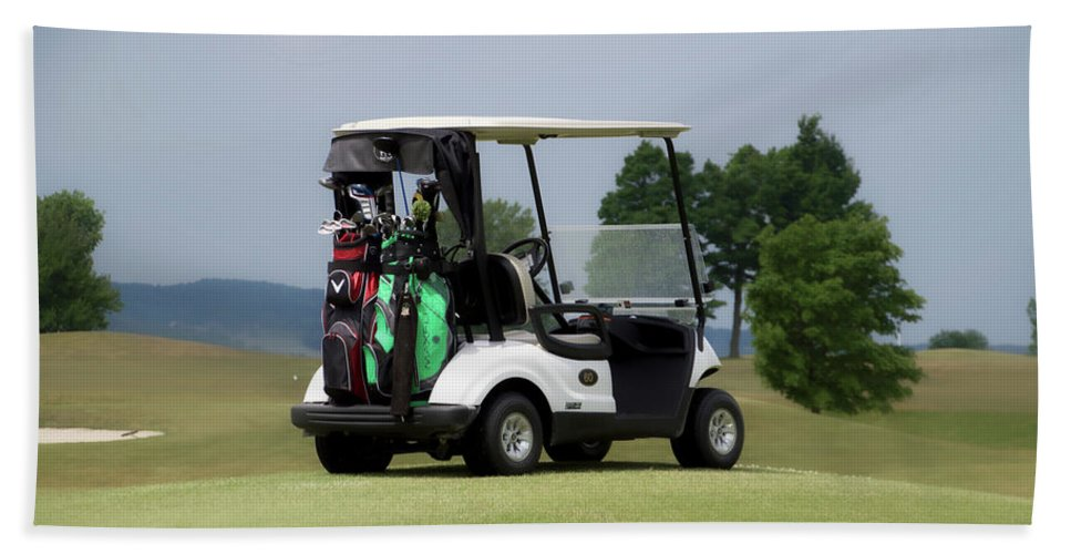 Tully New York Beach Towel featuring the photograph Golfing Golf Cart 04 by Thomas Woolworth