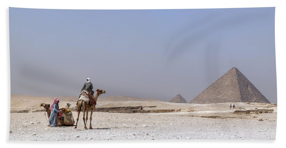 Great Pyramids Of Giza Beach Towel featuring the photograph Great Pyramids Of Giza - Egypt by Joana Kruse