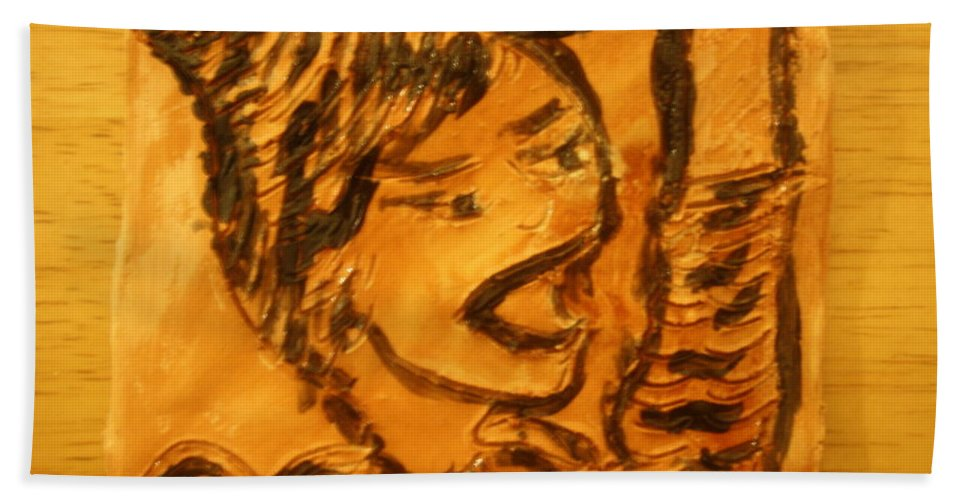 Jesus Beach Towel featuring the ceramic art Hair Day - Tile by Gloria Ssali
