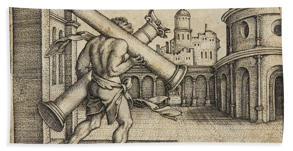Sebald Beham Beach Towel featuring the drawing Hercules Carrying The Columns Of Gaza by Sebald Beham