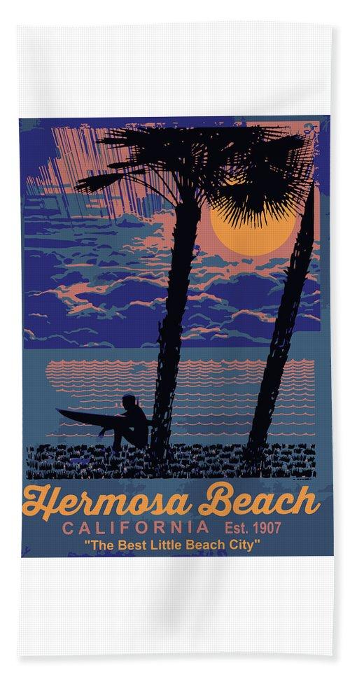 Hermosa Beach Beach Towel featuring the digital art Hermosa Beach. by American Roadside
