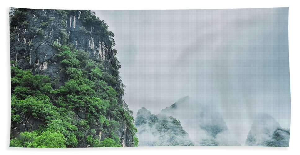 Countryside Beach Towel featuring the photograph Karst Mountains Rural Scenery by Carl Ning