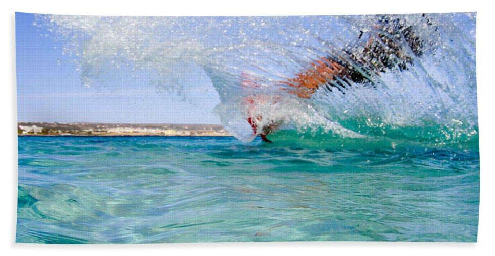 Adventure Beach Towel featuring the photograph Kitesurfing by Stelios Kleanthous