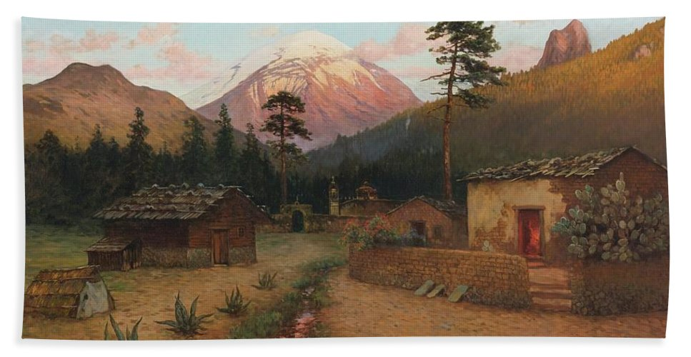 August Löhr (1843-1919) Landscape With Volcano Beach Towel featuring the painting Landscape With Volcano by MotionAge Designs