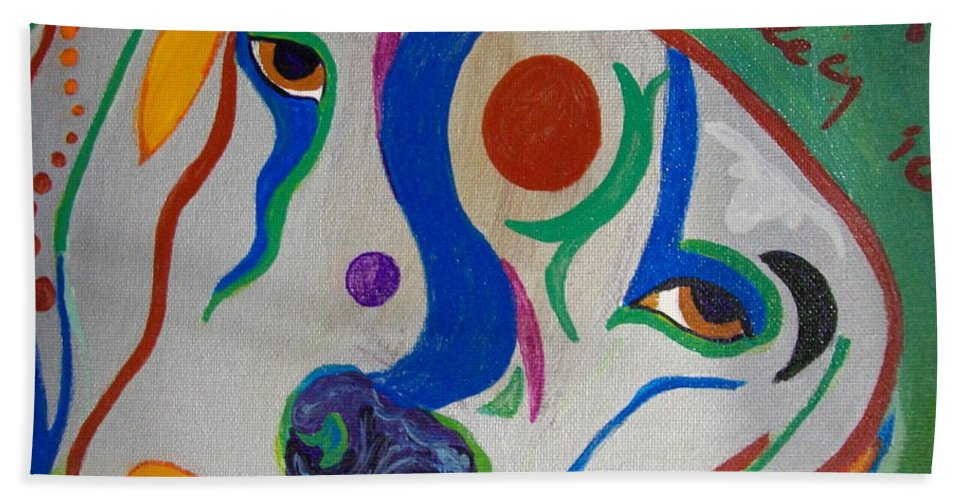Silver Beach Towel featuring the painting life of Riley by Laurette Escobar