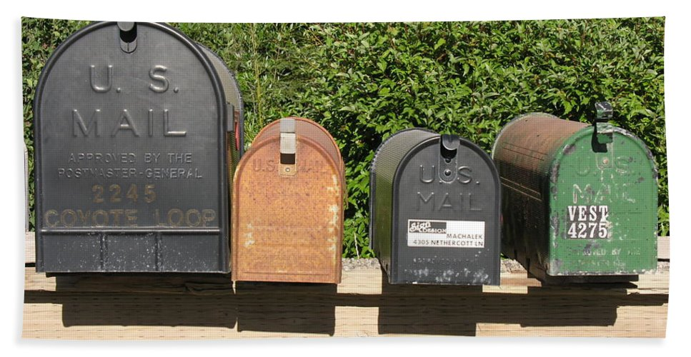 Mail Beach Towel featuring the photograph Mail Boxes by Diane Greco-Lesser