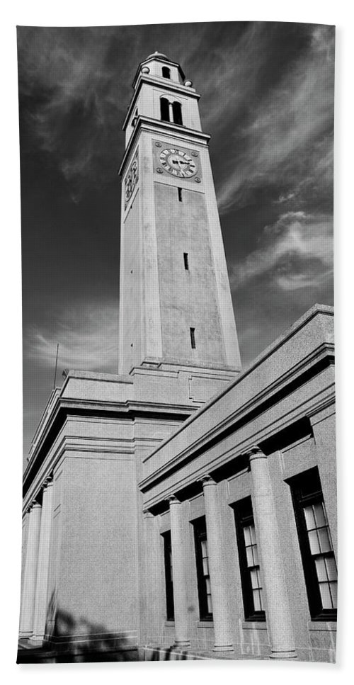 Lsu Beach Towel featuring the photograph Memorial Tower - Lsu Bw by Scott Pellegrin