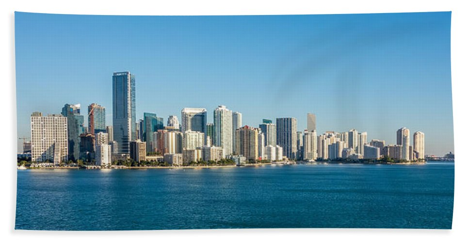 Miami Beach Towel featuring the photograph Miami Florida City Skyline Morning With Blue Sky by Alex Grichenko